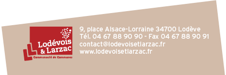 Communauté de Communes Lodévois et Larzac VOUS SOUHAITEZ EN SAVOIR PLUS? ENJOY THE FREE TOUR Contact / Entreprise SARL THERON & FILS 13, avenue Joseph Railhac 34700 Lodève Tél.