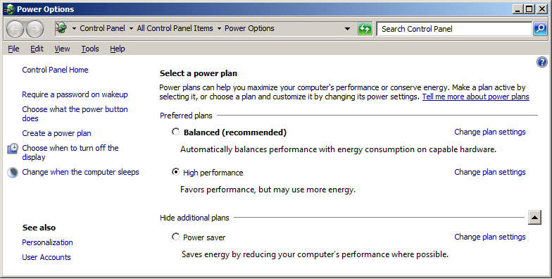 2 Configuration de votre station de travail Configuration de Windows 7 [OBLIGATOIRE] 8 Ajustez les options d'alimentation (Start > Control Panel > Power Options 1 ): a Sélectionnez High performance
