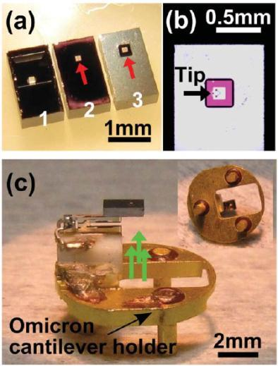 de la sonde en AM-AFM et FM-AFM Deposited contact Nanoelectrode