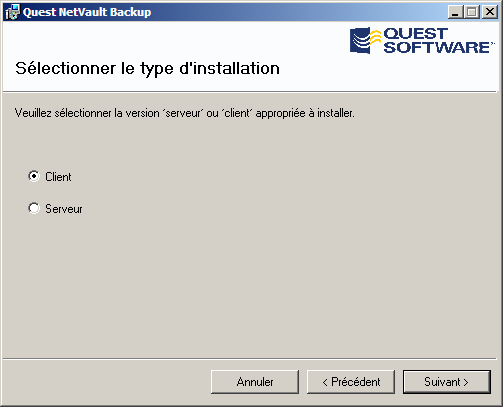 Quest NetVault Backup Guide d installation 55 Figure 4-11 : Fenêtre Sélection du type d'installation 4.