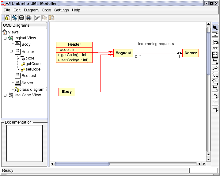 Annexe H : Bases d'uml avec Umbrello Umbrello UML Modeller showing a Class Diagram Class A Class defines the attributes and the methods of a set of objects.