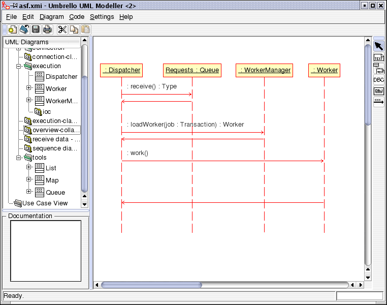 Annexe H : Bases d'uml avec Umbrello Umbrello UML Modeller showing a Sequence Diagram Messages can be either synchronous, the normal type of message call where control is passed to the called object