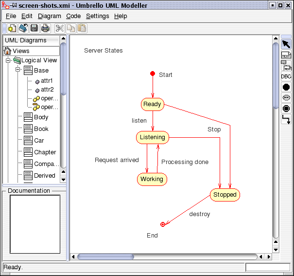 Annexe H : Bases d'uml avec Umbrello A Client terminates a request The request is executed and terminated Object receives message stop etc Umbrello UML Modeller showing a State Diagram State States