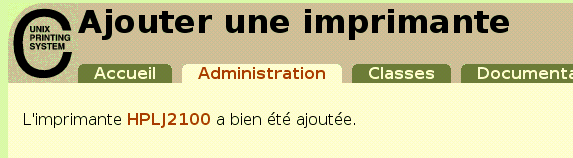 Gestiondesimprimantes aveccups Interfaced'administrationWeb
