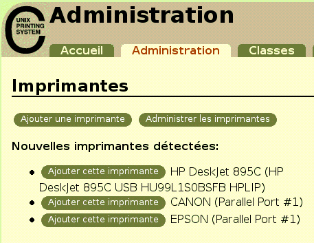 Gestiondesimprimantes aveccups Interfaced'administrationWeb Paroùcommencer? Cliquezsurl'ongletAdministrationen hautdelapage.