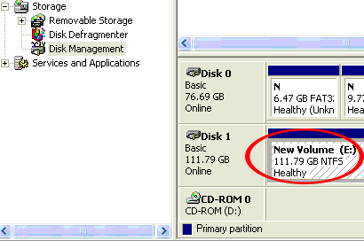 The New Partition Wizard will appear. Follow the instructions in the wizard to complete setting up the drive. Once complete, the Disk should show up as Healthy with a drive letter assigned (i.e. E:).