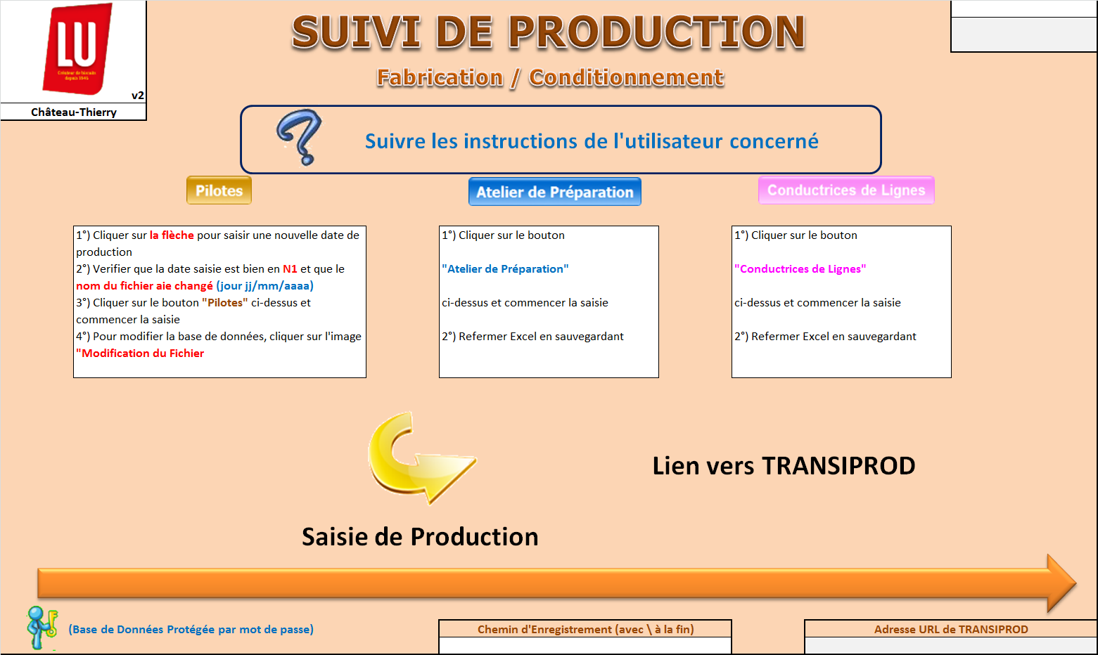 ANNEXE 3 : SUIVI DE PRODUCTION (1) - Interface Principale du Suivi de la Production