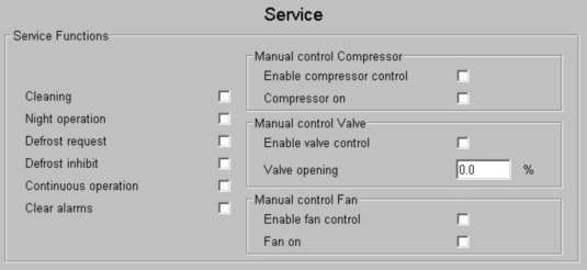 The top fields indicate status of compressor, defrost heater and fan (left) and a general alarm (right).