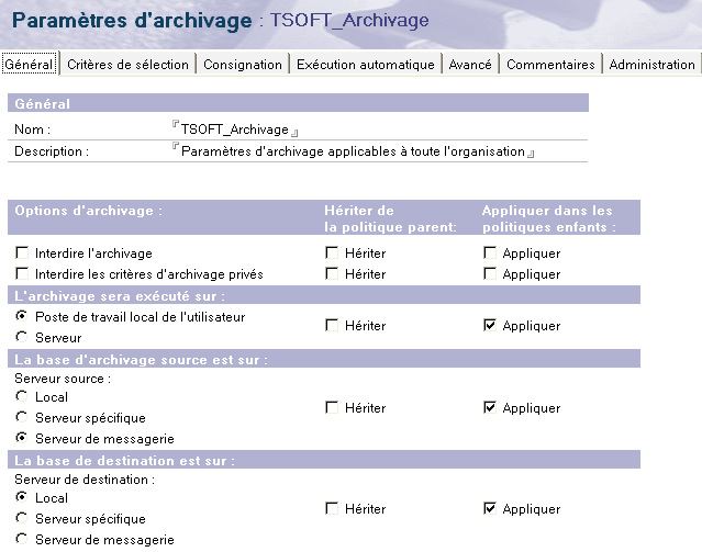 Archivage du courrier sur station Supplément 1 Le scénario proposé consiste à définir une règle applicable à l ensemble de l organisation : un archivage minimum de la base Courrier sur serveur vers