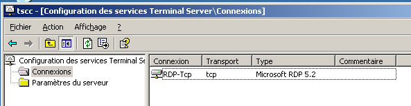 Configuration des services Terminal Server La configuration des services de Terminal Server s