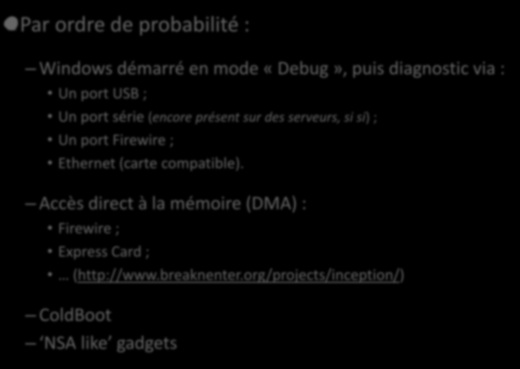 La mémoire de Windows Accès direct Par ordre de probabilité : Windows démarré en mode «Debug», puis diagnostic via :