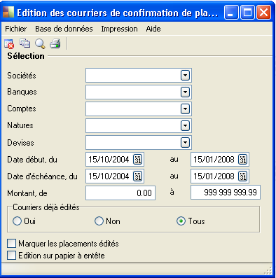 2) Edition des courriers confirmation pour les placements.
