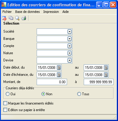 4) Edition des courriers de confirmations des flux