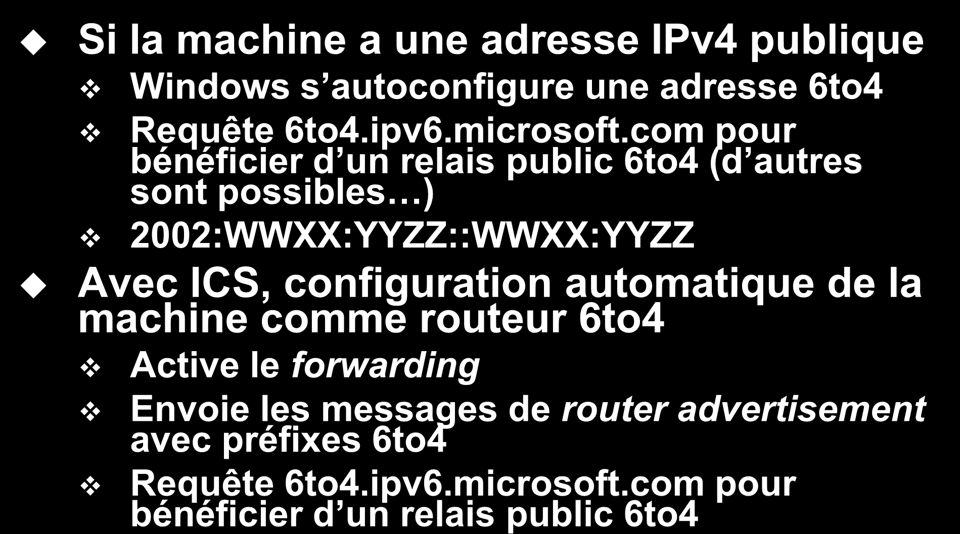 Support de 6to4 dans Windows Si la machine a une adresse IPv4 publique Windows s autoconfigure une adresse 6to4 Requête 6to4.ipv6.microsoft.