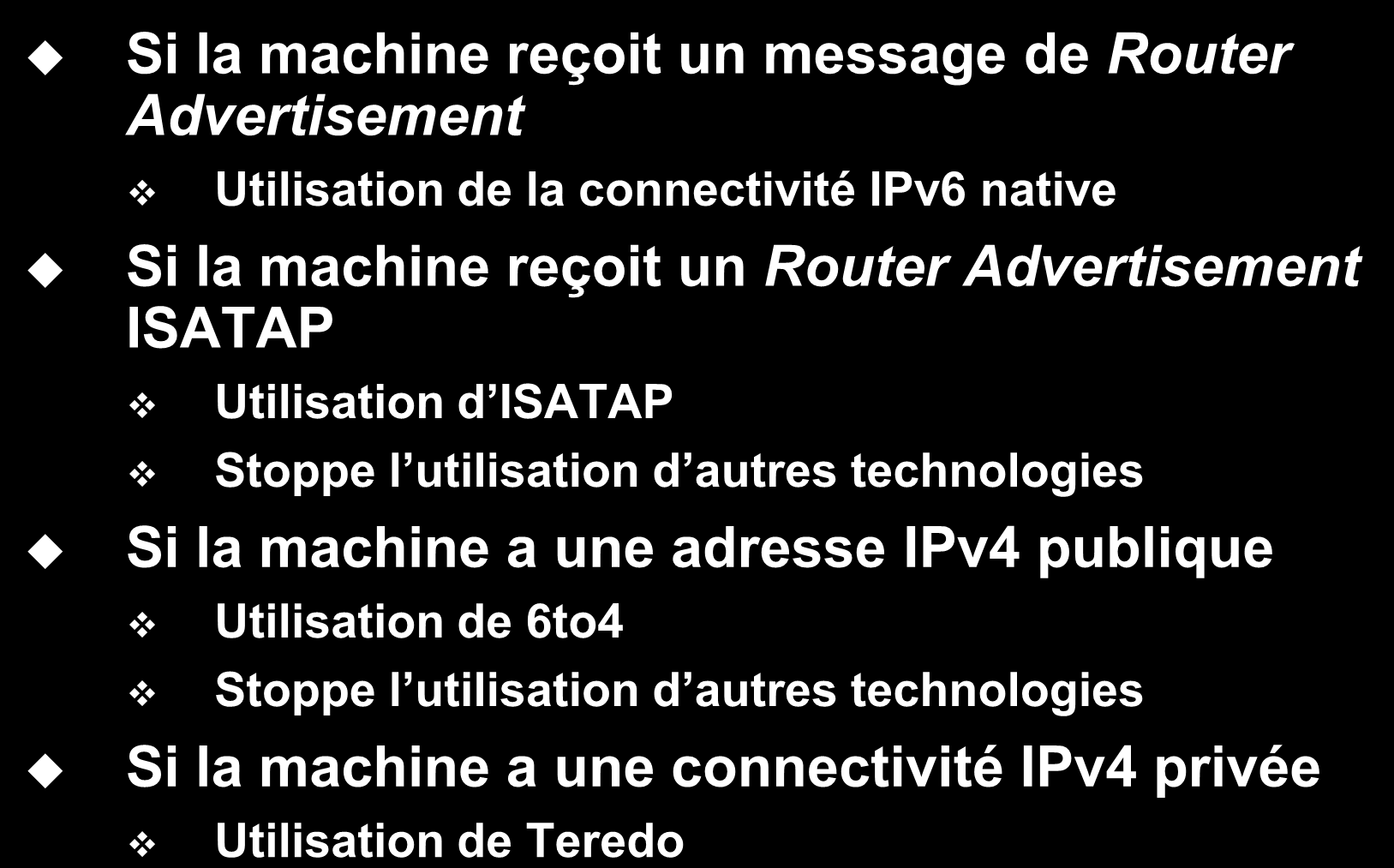Utilisation des technologies de transition Si la machine reçoit un message de Router Advertisement Utilisation de la connectivité IPv6 native Si la machine reçoit un Router Advertisement ISATAP