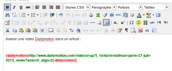 {dailymotion} et {/dailymotion} Enregistrez l'article.