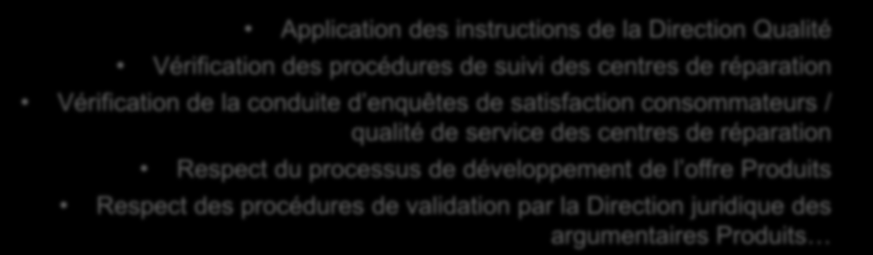 Des exemples de tests conduits RESPECT DU CONSOMMATEUR Application des instructions de la Direction Qualité Vérification des procédures de suivi des centres de réparation Vérification de la conduite