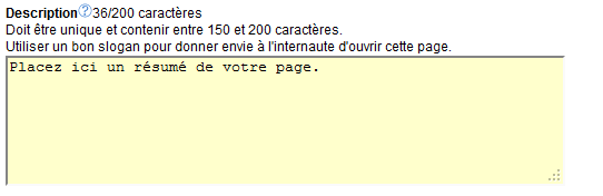 Chapitre : Optimisation des pages 4 ème critère : meta Description La zone description permet d insérer un message marketing destiné uniquement à l internaute.