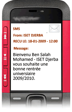 Notification par SMS Message de bienvenu