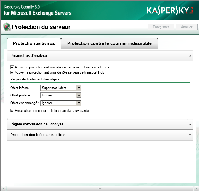 LANCEMENT ET ARRET DE L'APPLICATION Kaspersky Security est lancé automatiquement au démarrage de Microsoft Exchange Server, au démarrage de Microsoft Windows, lorsqu'un message transite par le