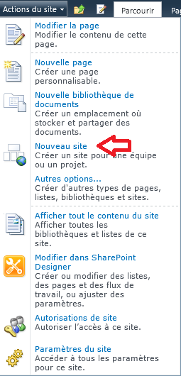 Figure 7 Menu Actions du site 3.