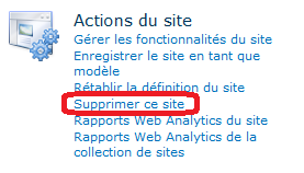 autorisations, Galeries, Administration du site, Administration de la collection de sites, Aspect, Actions du site et Reporting Services. Figure 15 Catégorie Actions du site: Supprimer ce site 4.