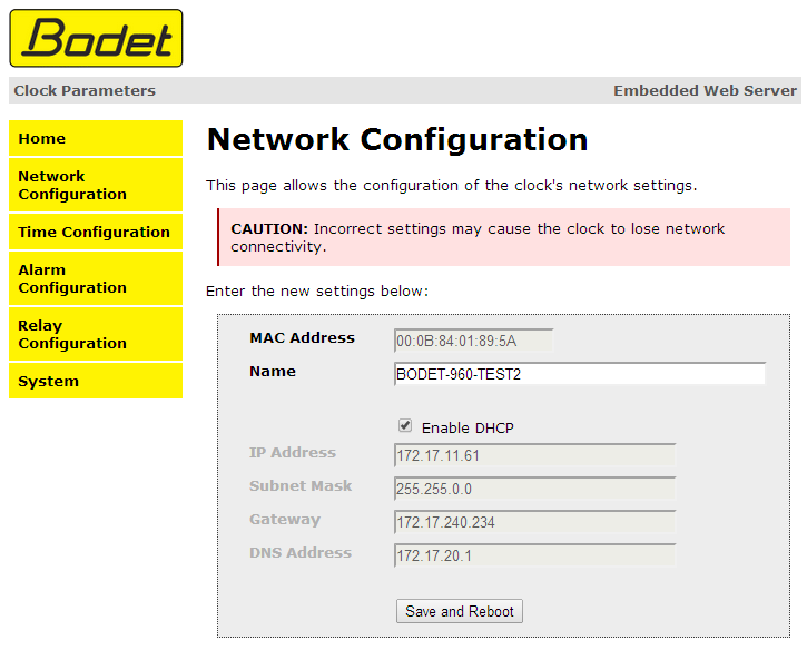 6.2 Network configuration page This page is for setting the clock's network configuration.
