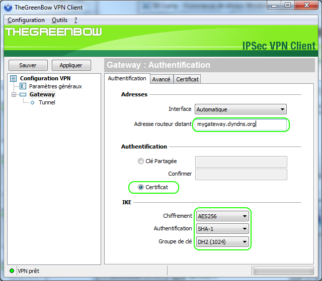 3 Configuration du Client VPN TheGreenBow 3.