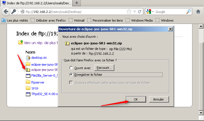 Authentification requise : login + mot de passe de