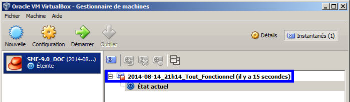 Instantané du serveur X- Instantané du serveur 1. Description d'un instantané Référence: Manuel de l'usager, page 28: download.virtualbox.org/virtualbox/usermanual_fr_fr.pdf.