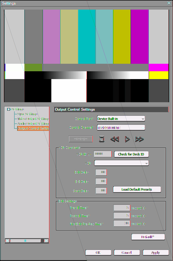 "Section 4 Setting Editing Environments Video Output Settings The settings of an output device used for printing to tape. The setting items are the same as that of ""Video Output Settings"" in Step 11."