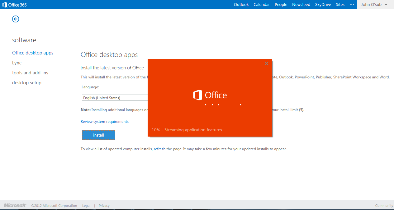 Log in to Office 365 from a browser to update your user profile and install the latest Select your language