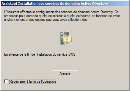 Patienter pendant l installation des services.