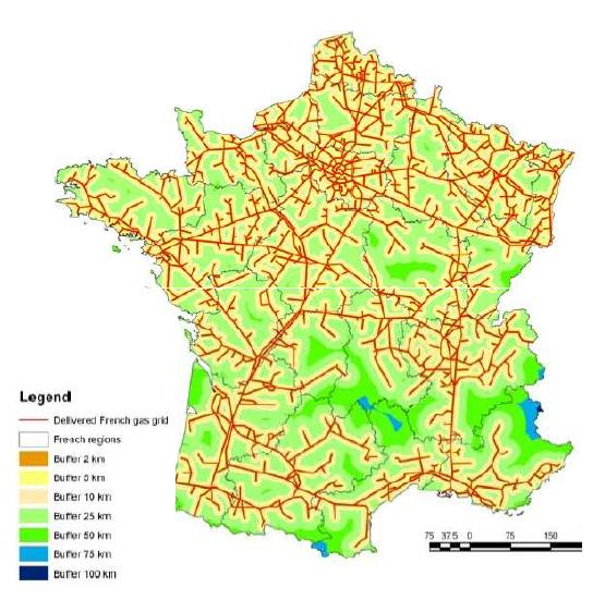 France Gas Infrastructure Transport distribution network (P>16 bar) GRTgaz et TIGF : 93% of the territory in a