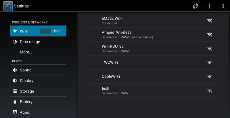 Wi-Fi can only be used when it connects with a Wi-Fi Access Point (AP) or a free unsecured Wi-Fi hotspot. 1 4.Network Connection Turn on Wi-Fi 2 Within the All Apps menu, tap Settings.