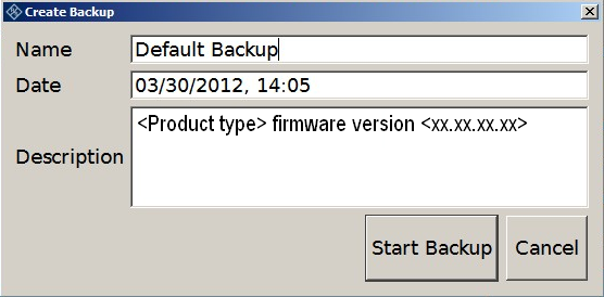 Installed Software Backup and Restore Application (1) = Header showing instrument type (2) = Header showing instrument name (3) = Free memory space on backup partition (4) = List of backups already