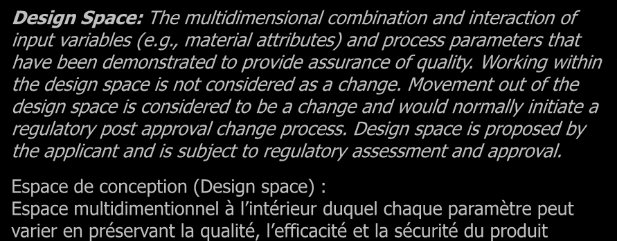 Un changement de culture : Apport de Q8, Q9 et Q10 L apport de ICH Q8 (R2) : Design Space: The multidimensional combination and interaction of input variables (e.g., material attributes) and process parameters that have been demonstrated to provide assurance of quality.