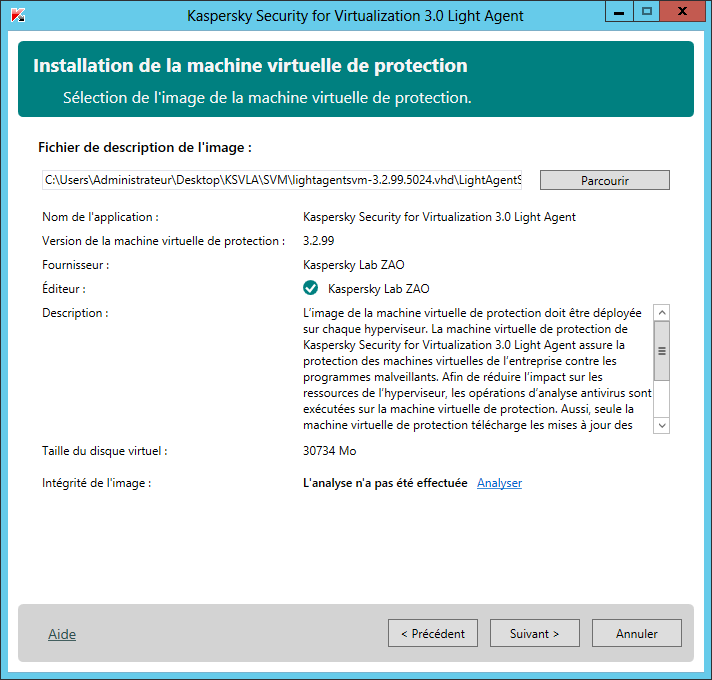 Sélection de l image. La machine virtuelle de protection est basée sur SUSE Linux Enterprise Server 11 SP2.