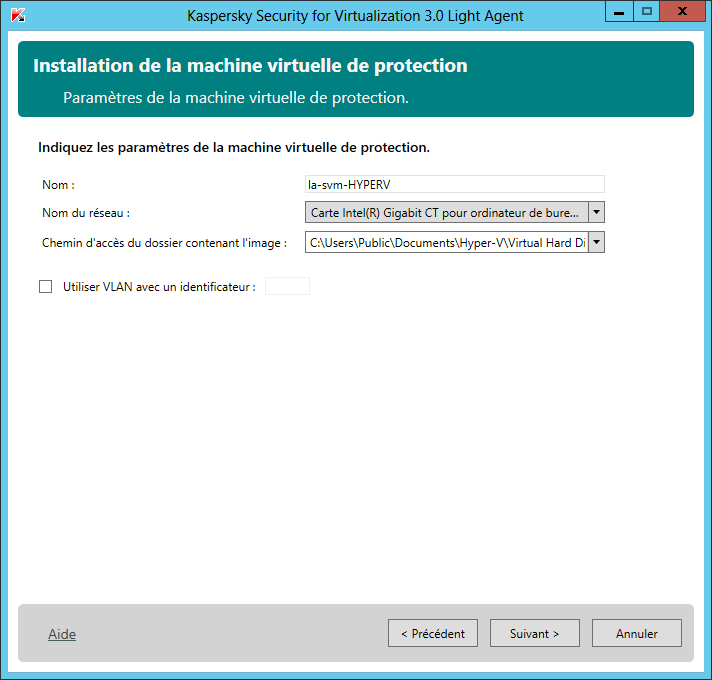 Configuration la machine virtuelle de sécurité (Hyper-V ou Citrix XenServer).