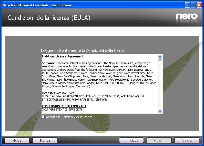 Appendice: Installazione di Nero Media Home Questo software è compatibile con Windows XP e Windows 7.