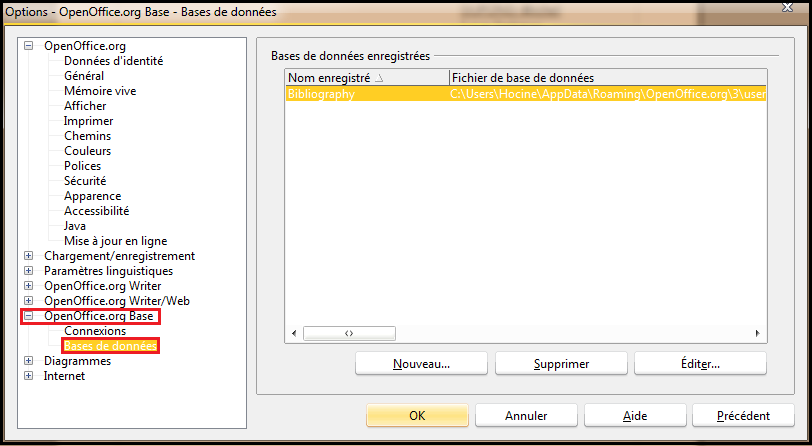Exemple de Publipostage 08/15 4. Le menu Outils / Options / OpenOffice.