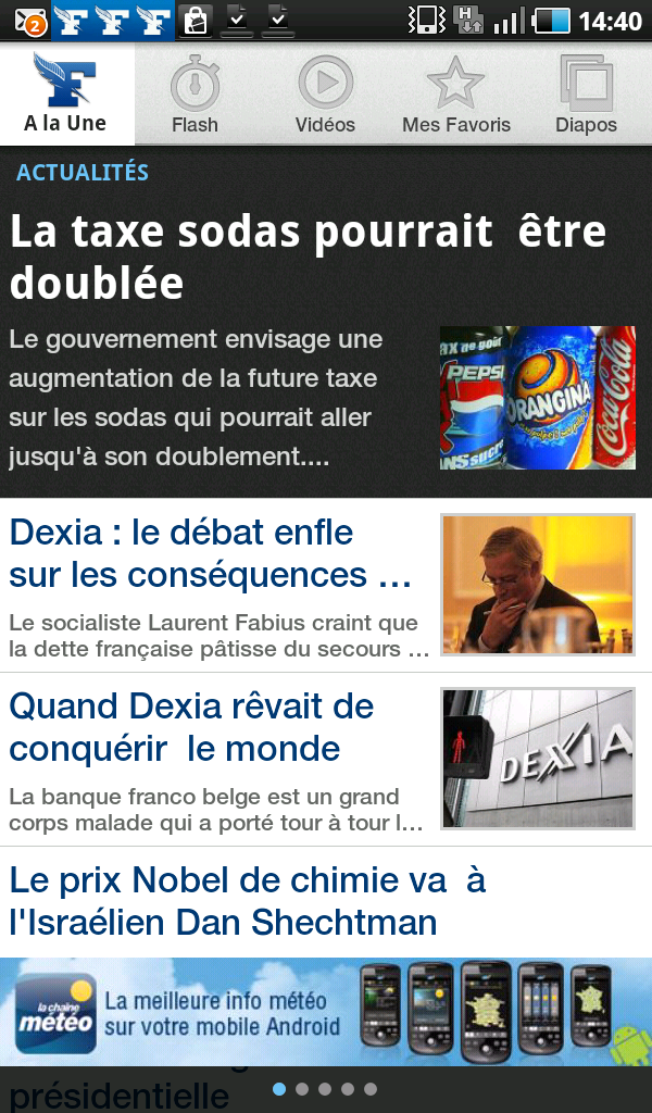 Le Figaro Android Samsung Galaxy Bannière: Format: