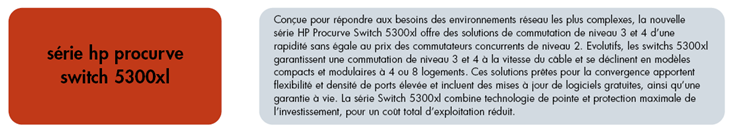 ANNEXE N 21 Commutateur HP Procurve Series 5300 XL Chassis Hp ProCurve Switch 5304XL (J4850A) 4 logements disponibles pour modules Hp ProCurve Switch 5308XL (J4819A) 8 logements disponibles pour