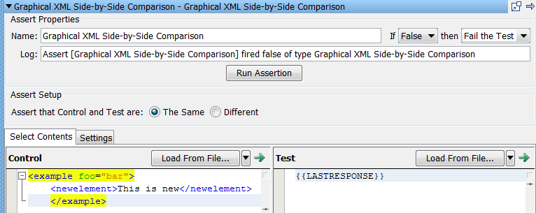 Descriptions d'assertions Assertion Graphical XML Side-by-Side Comparison (Comparaison côte à côte graphique de contenu XML) L'assertion Graphical XML Side-by-Side Comparison vous permet de comparer