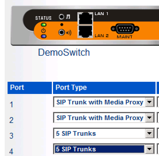 .», «Voice Switches/Service Appliance», suivi de «Primary» Ce menu nous permet de visualiser le ShoreGear Switch sur lequel seront configuré les SIP Trunks.