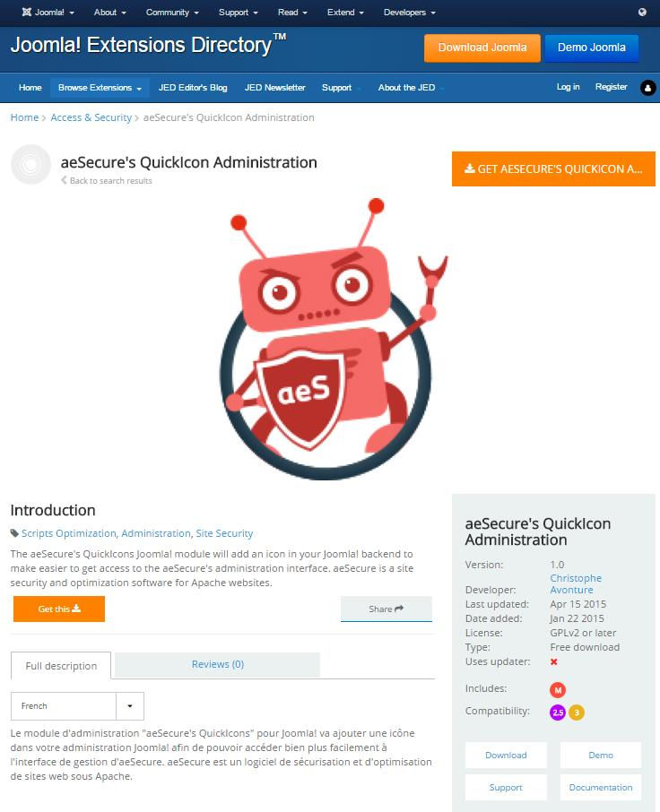 aesecure's QuickIcon Administration Module d administration