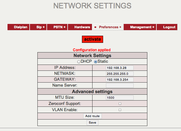 adresse IP et faites «Save» Page : Network settings en