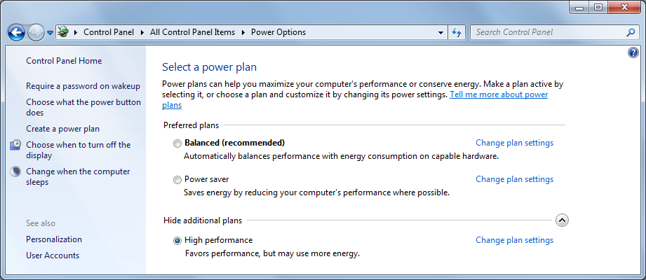 Power management setting 1. Right-click the Desktop and click Personalize on the pop-up menu. 2. Click the Screen Saver icon. 3. In the Screen saver box, select (None). 4. Click Change power settings.