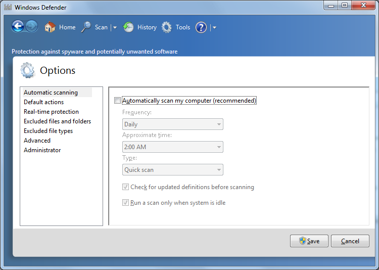 6. Under Automatic scanning, clear the Automatically scan my computer check box. 7. Click Save to close the window.